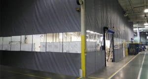 dust control with industrial curtains