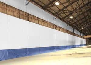 industrial curtains in warehouse